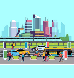 City street people and transport car bus bike vector