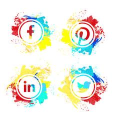 collection of popular social media logos vector image