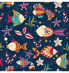 Colorful Seamless Pattern with Fish vector image