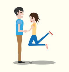 couple lovely holding hands vector image