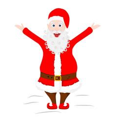 Crazy santa claus shows his tongue and raised vector