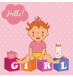 cute baby girl with children bricks vector image