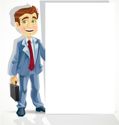Cute businessman hold big blank banner vector image
