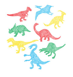 Different dinosaur silhouette icon in cartoon vector