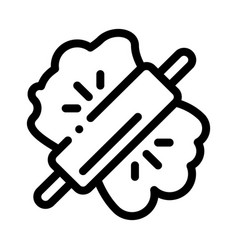 dough and wooden rolling pin icon thin line vector image