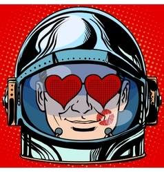Emoticon lover Emoji face man astronaut retro vector