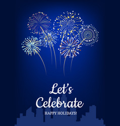 Fireworks above city silhouette background vector