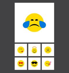 Flat icon emoji set of angel happy delicious vector