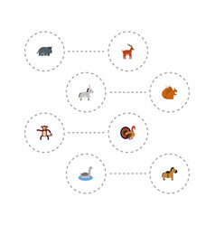 Flat icons hippopotamus pony chipmunk and other vector