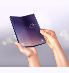 foldable phone glares composition vector image