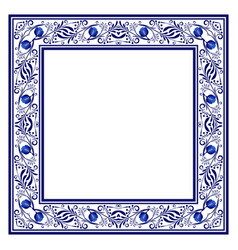 Frame with blue ethnic floral ornament with roses vector