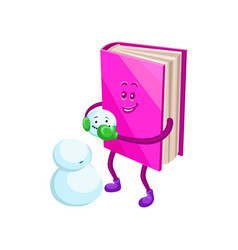 funny humanized pink book character making snowman vector image