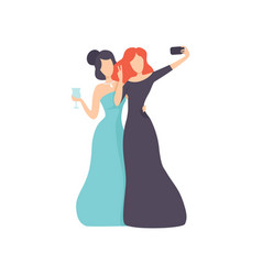 girls wearing evening dresses taking selfie photo vector image