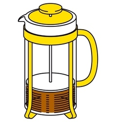 Glass French Press Pot with Coffee or Tea vector