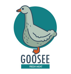 Goose fresh meat commercial logotype with domestic vector