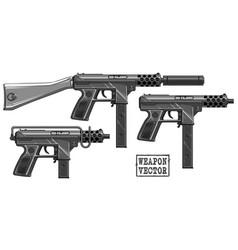 Graphic silhouette submachine gun with ammo clip vector