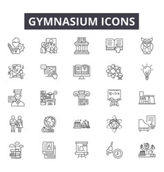 gymnasium line icons signs set outline vector image