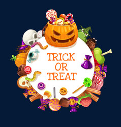 Halloween candies pumpkins jellies and lollipops vector