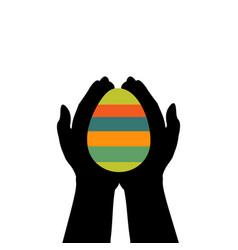 hands hold easter egg colorful vector image