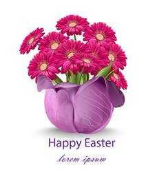happy easter daisy flowers bouquet card spring vector image