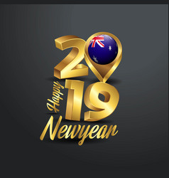 happy new year 2019 golden typography with vector image
