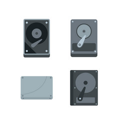hard disk icon set flat style vector image