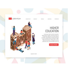 Higher education isometric concept vector