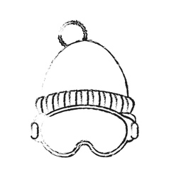 Isolated hat and glasses of winter cloth design vector