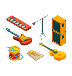 isometric music tools pictures instruments vector image