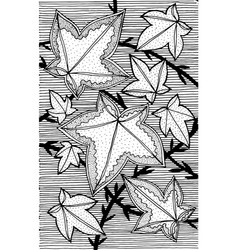 ivy - flower black and white ink vector image