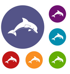 Jumping dolphin icons set vector