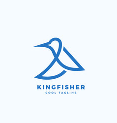 kingfisher bird abstract icon label vector image