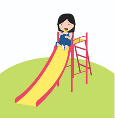 little girl playing slider enjoying vector image