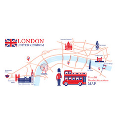 London england travel and tourist attraction map vector