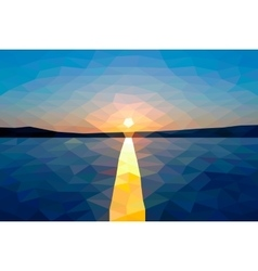 Low poly sunset on the winter lake vector image