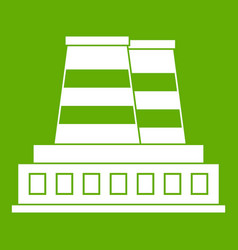 manufacturing plant icon green vector image