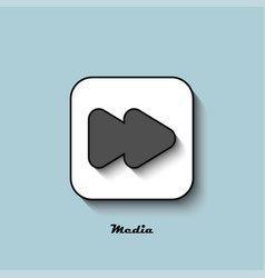 media player icon gray with a shadow on a blue vector image