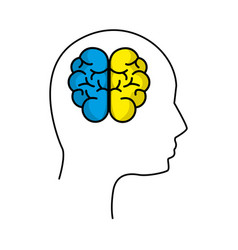 mental health silhouette person with brain vector image