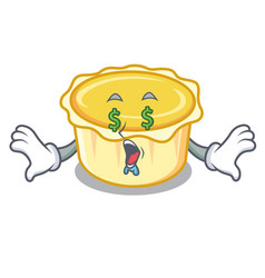 Money eye egg tart mascot cartoon vector
