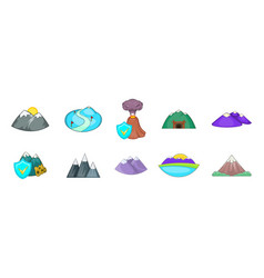 mountains icon set cartoon style vector image