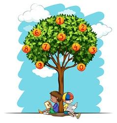 Numbers on orange tree vector