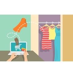 Online shopping flat banner vector image