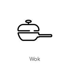 Outline wok icon isolated black simple line vector