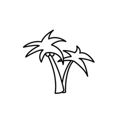 palm trees linear icon on white background vector image