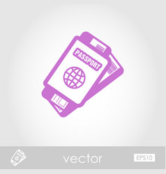 passport with tickets icon summer vacation vector image