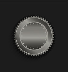 Platinum seal with stars in black background vector