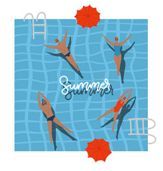 pool top view with umbrellas summer holidays vector image