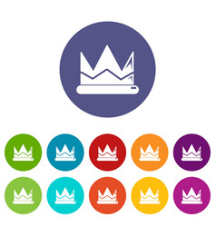 prince crown icons set color vector image