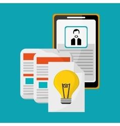 Profile smartphone idea documents vector