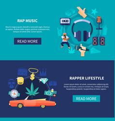 Rap music horizontal banners vector